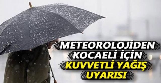 Kocaeli için Şiddetli Yağmur Uyarısı